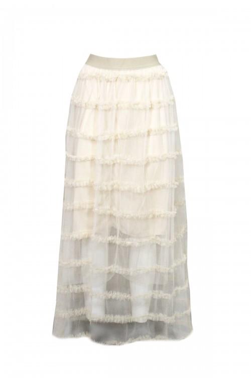 Μπεζ μίντι φούστα τούλινη για γάμο ή βάπτιση