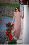 Φόρεμα maxi μπέζ-κόραλ