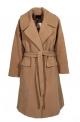 Μοντέρνο γυναικειο παλτο μαλλινο μακρύ Oversized με ζώνη