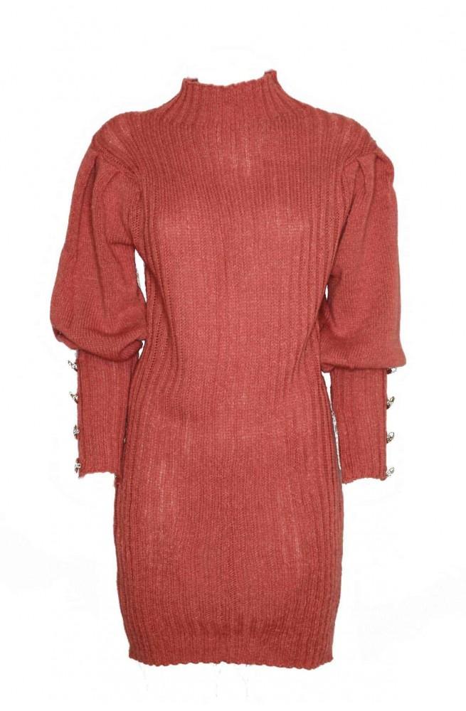 πλεκτό φόρεμα στενό μίνι με φουσκωτά μανίκια