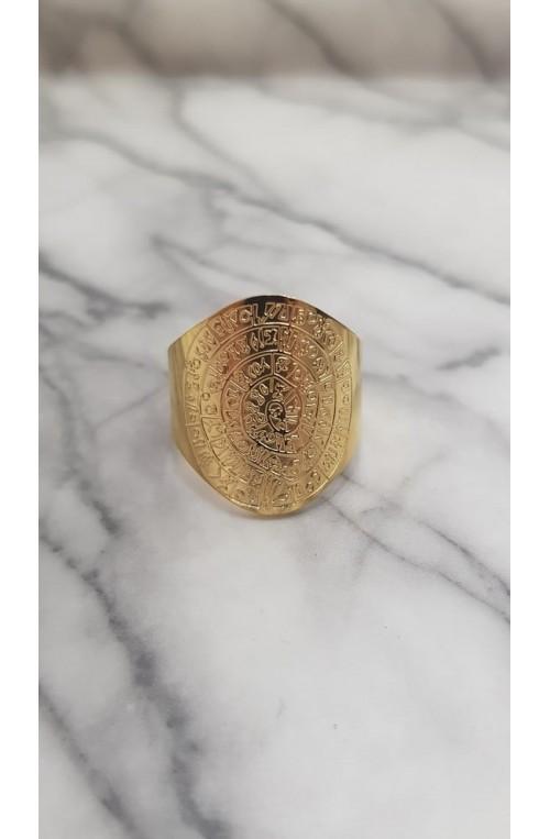δαχτυλίδι χρυσό δίσκος της Φαιστού από ατσάλι
