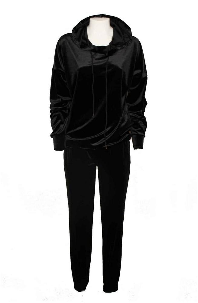 σετ μαύρες βελούδινο φόρμες με κουκούλα
