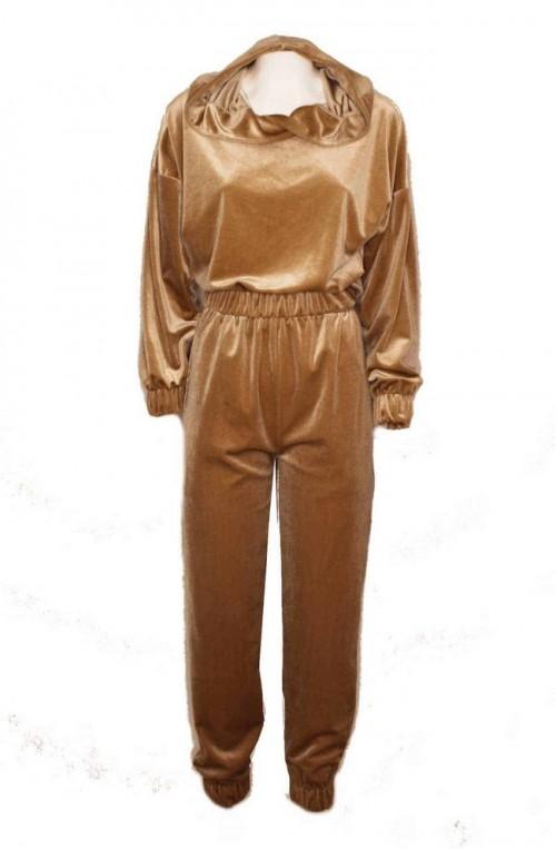 Σετ φόρμες βελούδο με crop top - Γυναικείες βελουτέ φόρμες