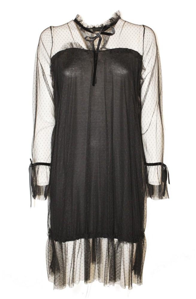 μίνι φόρεμα με διαφάνεια μαύρο