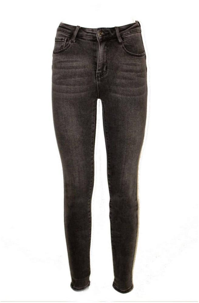 ελαστικό γυναικείο skinny jean παντελόνι ψηλομεσο γκρι