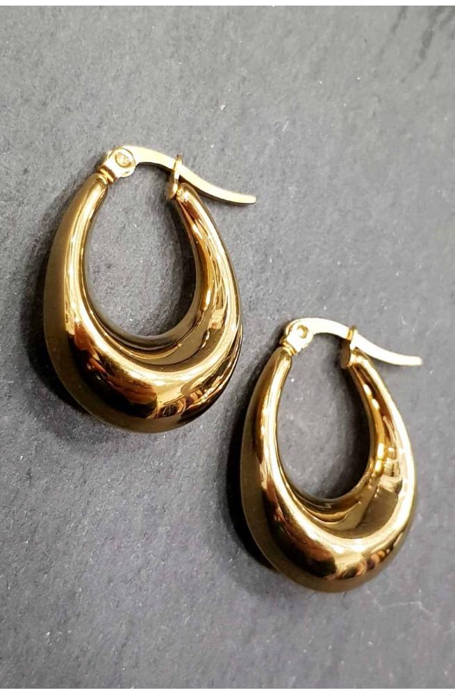 γυναικεία σκουλαρίκια κρίκοι οβάλ ανοξείδωτο ατσάλι