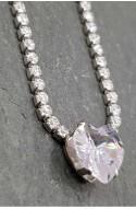 γυναικείο κολιέ αλυσίδα στρας με κεντρικό στρας καρδιά ανοξείδωτο ατσάλι
