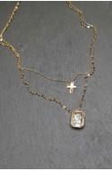 γυναικείο κολιέ ανοξείδωτο ατσάλι διπλή αλυσίδα με τετράγωνο στρας