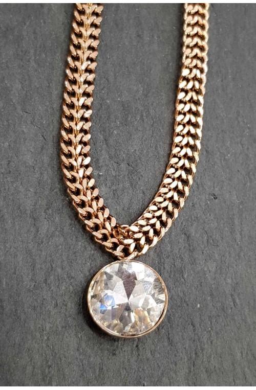γυναικείο κολιέ ροζ χρυσή αλυσίδα με στρογγυλό στρας