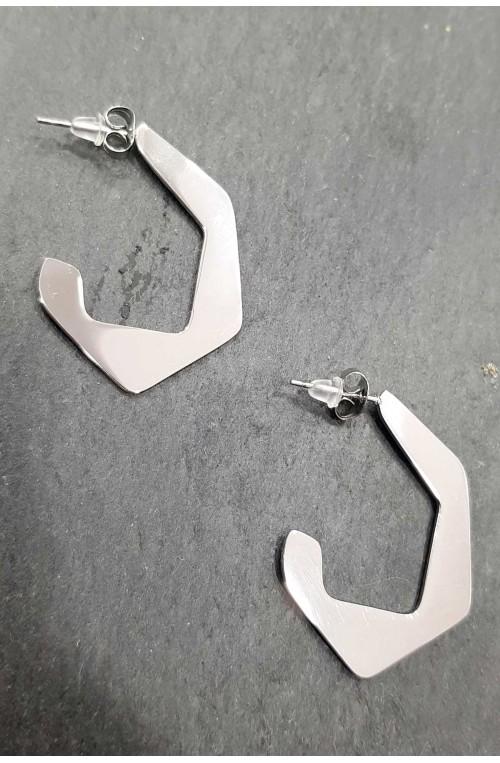 σκουλαρίκια κρίκοι πολύγωνα ανοξείδωτο ατσάλι