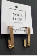 γυναικεία σκουλαρίκια κρίκοι πλακέ τετράγωνα ανοξείδωτο ατσάλι