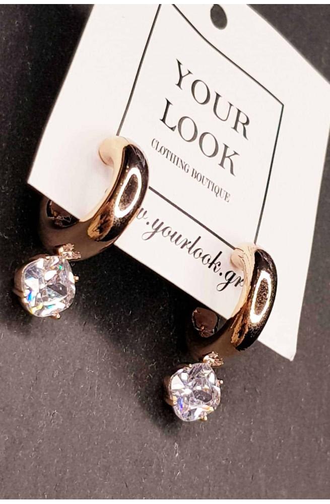 γυναικεία σκουλαρίκια κρίκοι καρφωτά με στρας