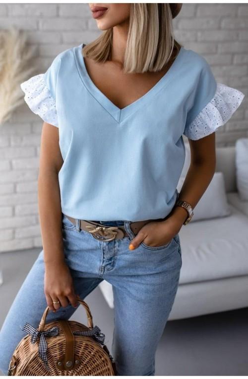 γυναικείο μπλουζάκι με κιπούρ μανίκι