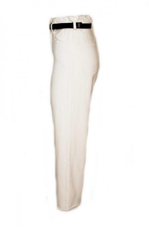 γυναικείο τζιν παντελόνι ψηλόμεσο αστράγαλου με ζώνη άσπρο