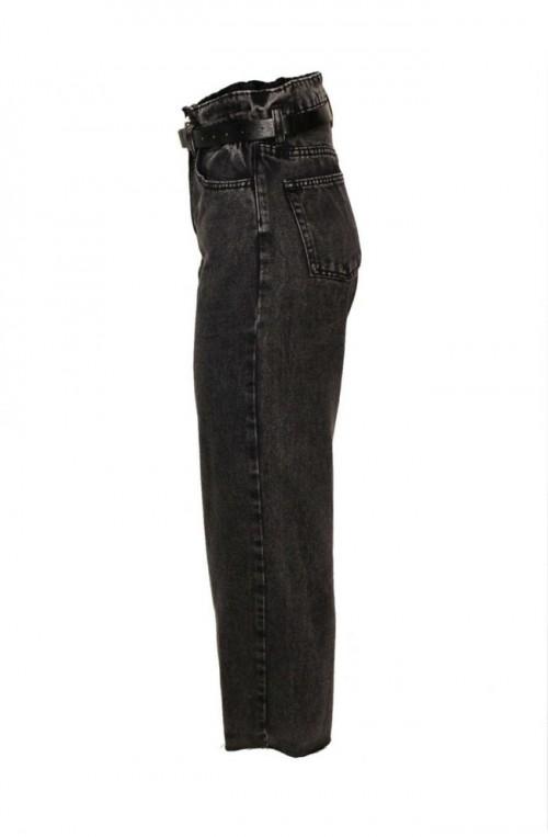 γυναικείο τζιν παντελόνι ψηλόμεσο αστράγαλου με ζώνη μαύρο