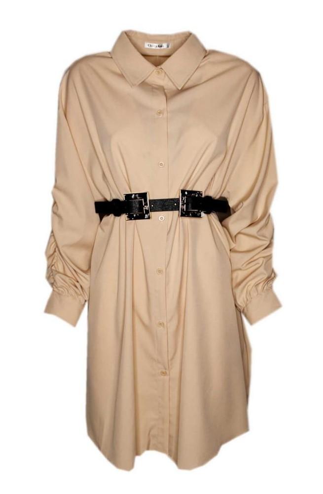 γυναικείο μακρύ πουκάμισο φόρεμα μπεζ μακρύ με σούρα στο μανίκι