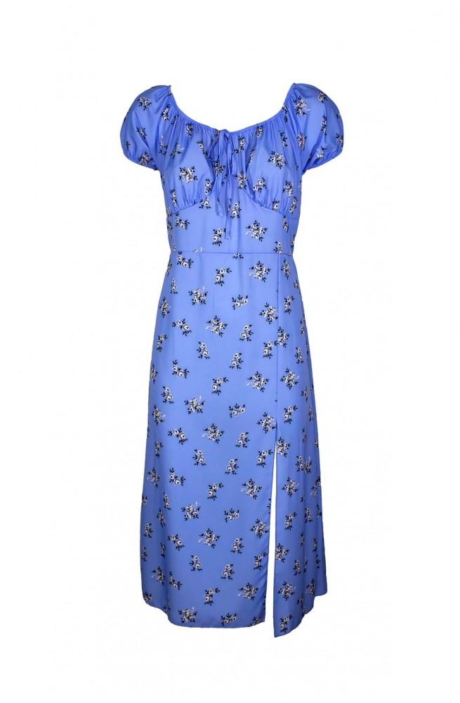 γυναικείο φλοράλ γαλάζιο midi φόρεμα με σκίσιμο