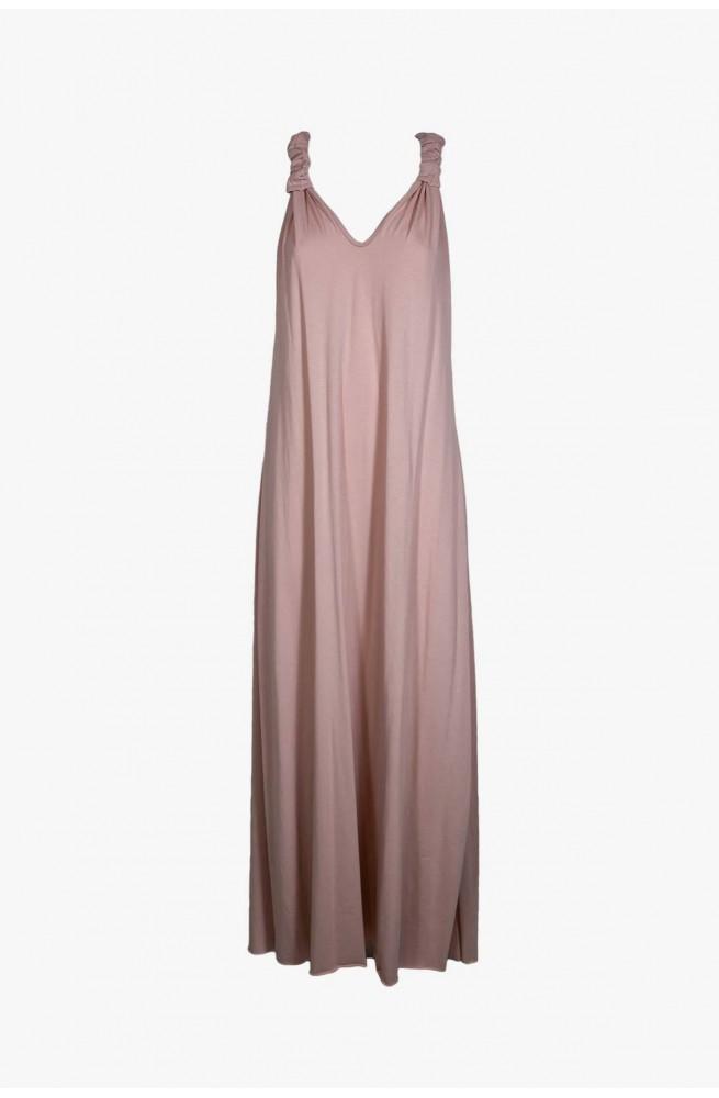 γυναικείο μακρύ φόρεμα ροζ μακό
