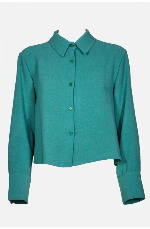 γυναικείο πουκάμισο crop ίσια γραμμή