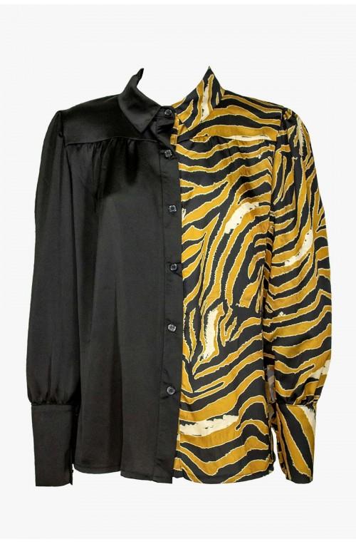 γυναικείο μαύρο σατέν πουκάμισο με print
