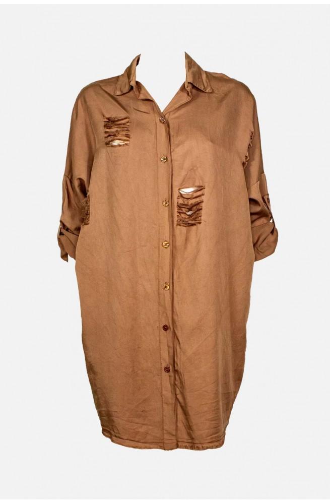 γυναικεία πουκαμίσα μακρύα ασσύμετρη ταμπά