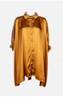 γυναικεία σατέν πουκάμισα ασύμμετρη oversize plush size