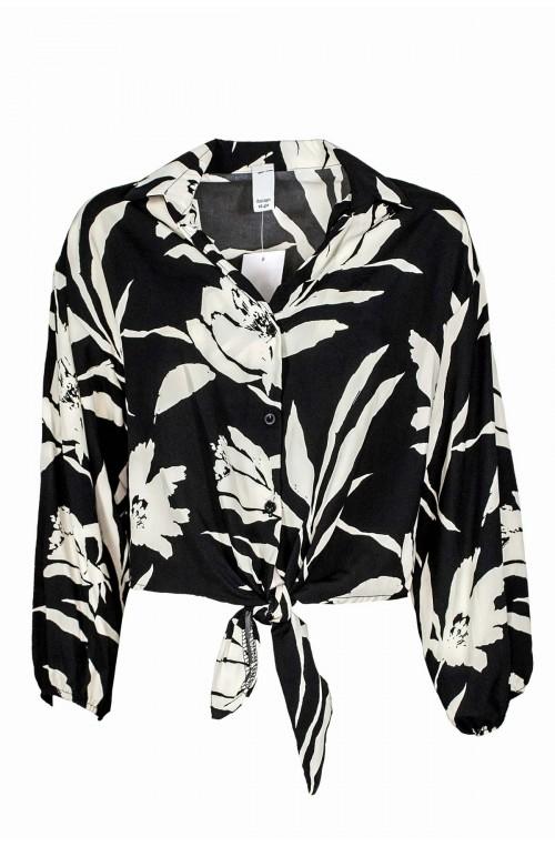 γυναικείο ασπρόμαυρό πουκάμισο crop