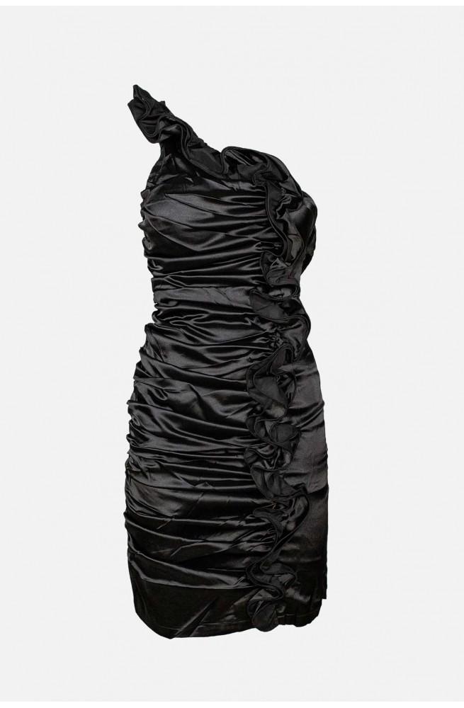 γυναικείο μίνι σατέν φόρεμα με έναν ώμο για βάπτιση ή γάμο