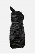 γυναικείο μίνι σατέν φόρεμα με έναν ώμο, για βάπτιση ή γάμο