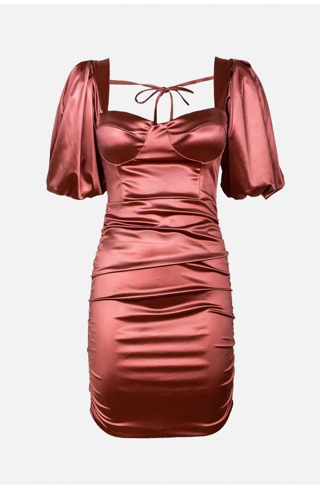 γυναικείο σατέν στενό μίνι φόρεμα για βάπτιση ή γάμο