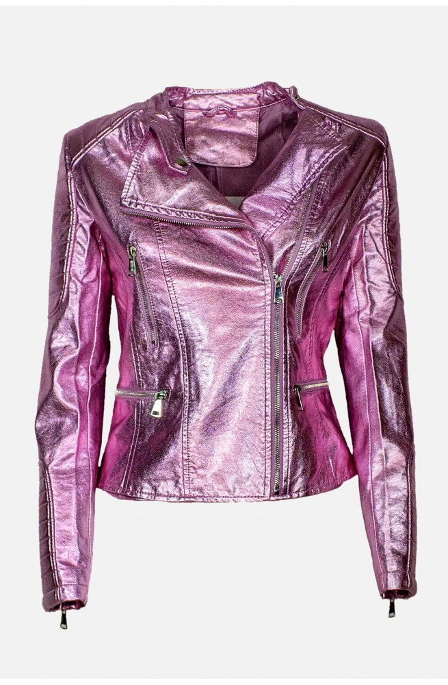 γυναικείο μπουφάν δερματίνη ροζ μεταλιζέ με φερμουάρ