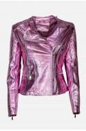 γυναικείο μπουφάν από οικολογικό δέρμα ροζ μεταλιζέ με φερμουάρ