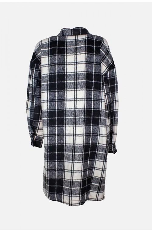 γυναικείο jacket πουκάμισο ασπρόμαυρο καρό μοχέρ