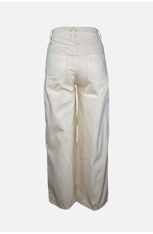 γυναικείο jean παντελόνι εκρού με σκισίματα ψηλόμεσο