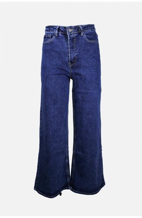 γυναικείο ψηλόμεσο μπλε τζιν παντελόνι φαρδιά γραμμή