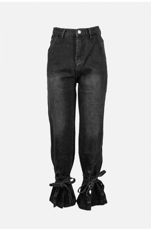 γυναικείο τζιν παντελόνι με δέσιμο στο κάτω μέρος