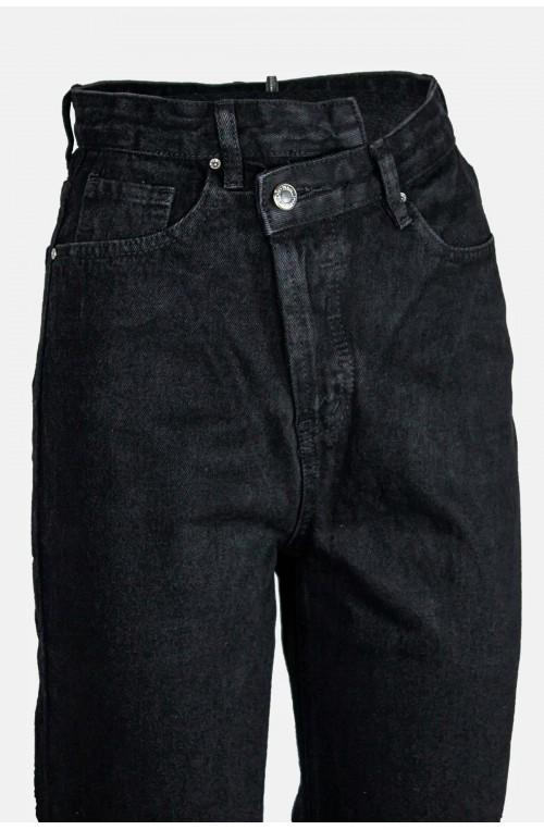 γυναικείο μαύρο τζιν παντελόνι ψηλόμεσο ίσια γραμμή