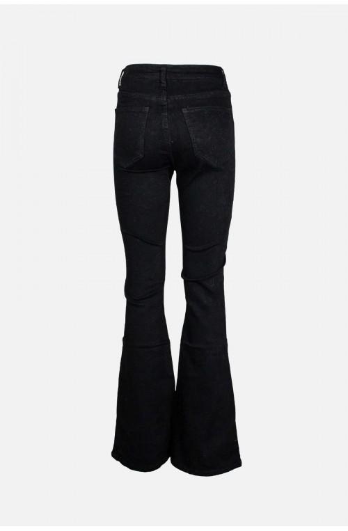γυναικείο μαύρο τζιν παντελόνι καμπάνα