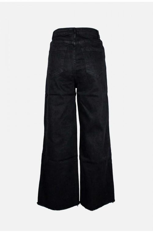 γυναικείο τζιν παντελόνι μαύρο φαρδιά γραμμή