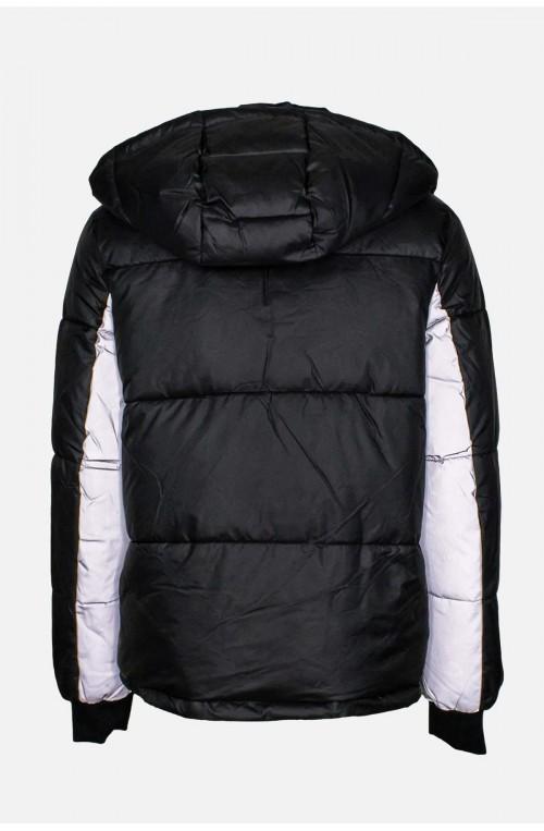 Γυναικείο φουσκωτό μπουφάν μαύρο ασημί φωσφοριζέ